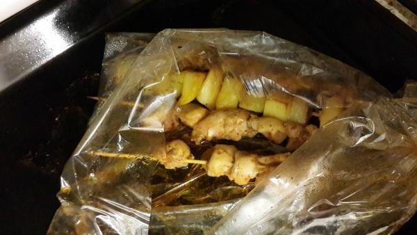 Fırın Poşetinden Patatesli Tavuk Şiş
